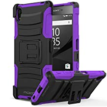 Sony Xperia Z5 Case, MoKo Shock Absorbing Hard Cover Ultra Protective Heavy Duty Case with Holster Belt Clip + Built-in Kickstand for Sony Xperia Z5 5.2 Inch (2015) - Purple