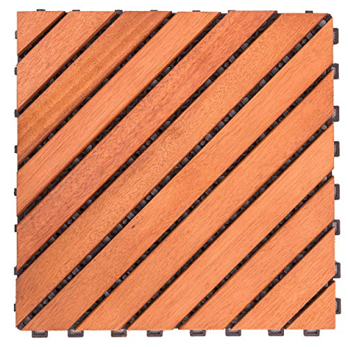 (VIFAH V182 Interlocking FSC Eucalyptus Deck Tile 12-Slat Diagonal Design, 10-Pack, Natural Wood Finish, 11 by 11 by)