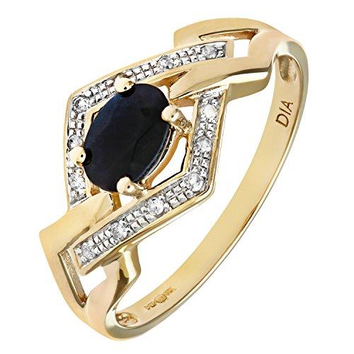 Bague Femme - Or jaune (9 cts) 1.4 Gr - Saphir - Diamant 0.005 Cts