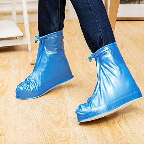 JIANGFU Neutral Schuh Regen abreibbare,Unisex Wasserdichte Regenschuhe Wiederverwendbare Stiefel Rutschfest (36, BU)