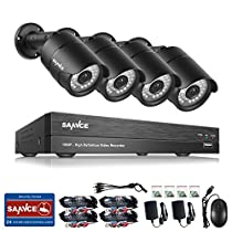 SANNCE 8CH 1080P DVR Surveillance Camera System w/ 4X 2.0 MP CCTV Bullet Cameras, with Superior Night Vision, IP66 Weatherproof Metal Housing, NO HDD Inlcuded