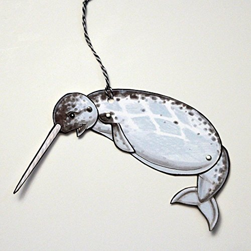 Set of 3 Narwhal Jointed Gift Tag or Ornament, Mini Arctic Animal Paper Doll ()