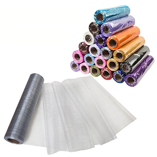Meijuner 29CM Width X 25M Length Organza Roll Sashes Fabric Table Runner Chair Sashes Bow for Decoration -