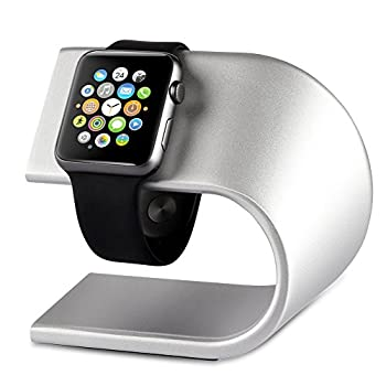 Apple Watch Stand, VEGO Apple iWatch Stand Charging Dock Stand Station with Aluminum Body Sturdy Holder for Apple Watch Series 1 Series 2, Sport Edition 42mm & 38mm (Silver)