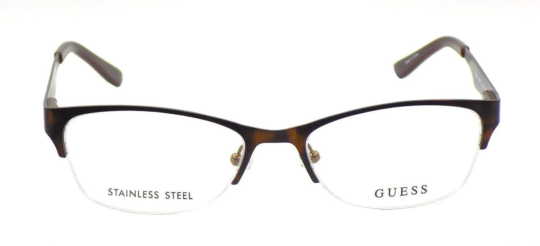 9614a921db Guess Women s Eyeglasses GU2469 GU 2469 BRNTO Brown Half Rim Optical Frame  52mm at Amazon Men s Clothing store