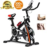 Exercise Bike Cycling Bike Indoor Cycling Spin Bike Bicycle Cardio Fitness Cycle Trainer Heart Pulse w/LED Display Exercise Bikes Stationary Indoor – Black