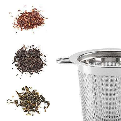 EZOWare Tea Infusers for Loose Leaf Tea [Set of 4] Stainless Steel Fine Mesh Tea Strainer with Handle and Lid, Reusable Tea Steeper for Tea Pot, Cup, Mug by EZOWare (Image #8)
