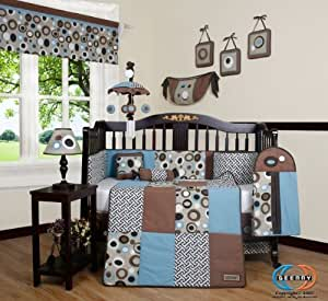 GEENNY Boutique 13 Piece Crib Bedding Set, Blue/Brown Scribble