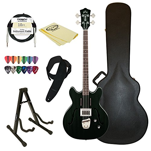 Guild Starfire Bass Guitar with Case & ChromaCast accessories, Black by Guild