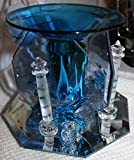 Electric Oil Warmer Tart Burner 2 Jumping Dolphins and Lighthouse, 3 Sided Mirror, Dark Blue
