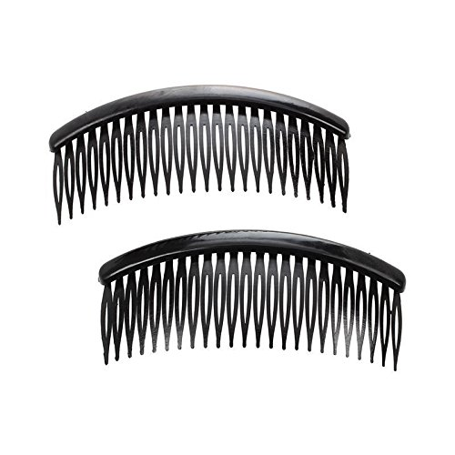 Practical Black Plastic 24 Teeth Hair Comb Clip Clamp 2 Pcs for Lady Girls CP