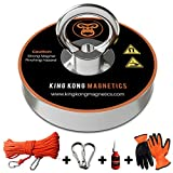 King Kong Magnetics Fishing Magnet Kit with Super Strong Magnet for Pulling 400 Lb, Gloves, Rope, Thread Locker and Carabiners | Underwater Metal Detector - The Ultimate Magnet Fishing Bundle Pack