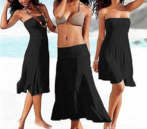 Bikini Midi Bandeau Unie Noir Femmes Couleur Up de Plage Casual Robes Cover t wzA6nBx