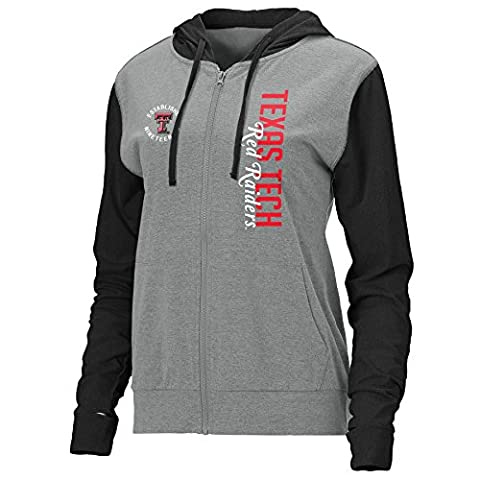 NCAA Texas Tech Red Raiders Women's Color Block Full Zip Lightweight Hoodie, Premium/Black Heather, (Hoodies Texas)