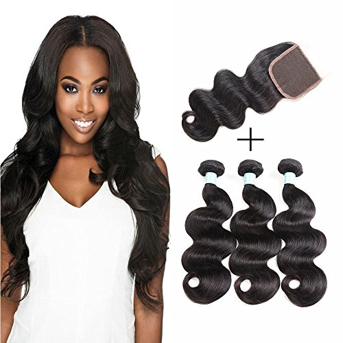 Siji Mei Brazilian Virgin hair Body Wave With Lace Closure 3 Bundles With Closure 100% Unprocessed Human Hair Extensions Natural Color Free Part (10 12 14 W - Hours Delivery Ups Day Next