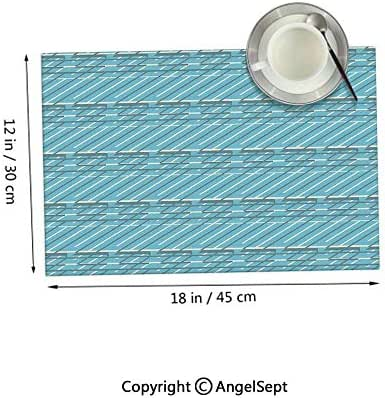 Homenon Heat Resistant Clean Table Mats,Ornamental Diagonal Lines on Pale Blue Background Crosswise Pattern Pale Blue Cream Grey 12x18inches,Polyster Table Mats Set of 6
