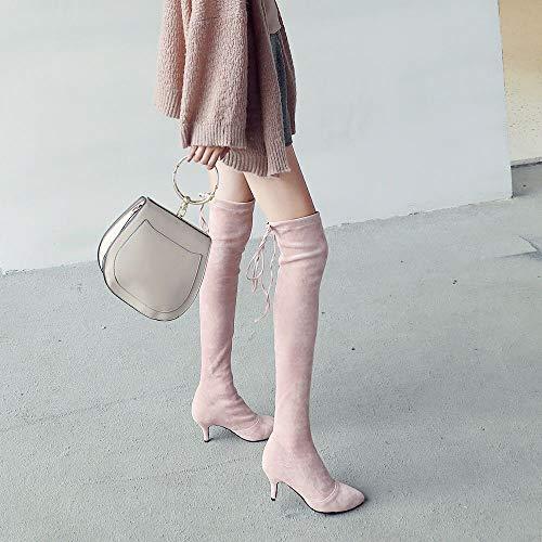 Femmes Bout Taoffen Pointu Boots Rose Stretch Mode SpEdUxwaqE