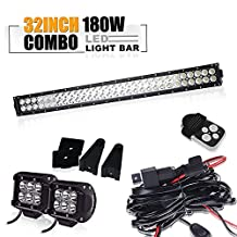 32 30 INCH Straight Led Light Bar & 2x 4 INCH Pods 18w LED Work Light Bar & 3 Lead Remote Switch Wiring Harness for Offroad Ford F150 F250 Jeep Toyota Tacoma 2WD 4WD SUV Pickup Polaris Rzr Ranger UTV ATV Dodge Chevrolet GMC