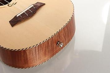 XIE@23 pulgadas pequeña guitarra de cuatro cuerdas Solid Spruce tigre Okoume ukelele ukelele madera: Amazon.es: Instrumentos musicales