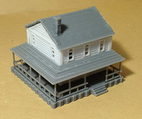 - Outland Models Train Railway Layout Country 2-Story House White N Scale 1:160