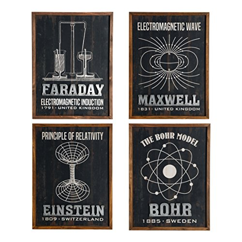 NIKKY HOME The Great Scientist Wood Framed Blackboard Style Educational Wall Art Poster Print, Set of 4
