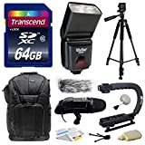 Ultimate Accessories Bundle Kit includes Transcend 64GB Class 10 SD Memory Card + Vivitar DF-293 DF293 Shoe Mount Auto Focus Bounce Zoom DSLR Digital Camera Swivel Flash for Sony (VIVDF293S) + 60'' Inch Photo/Video Tripod + DSLR Bag Case Sling Travel Acces