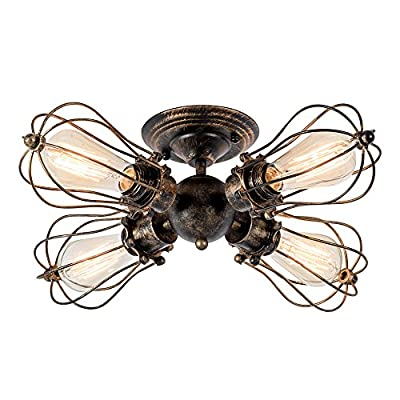 Vintage Ceiling Light Industrial Semi-Flush Mount Ceiling Light Metal Fixtures Painted Finish; Moonkist (with 4 Light)