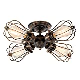Vintage Ceiling Light Industrial Semi-Flush Mount Ceiling Light Metal Fixtures Painted Finish; Moonkist (With 4 Light) (Bronze)