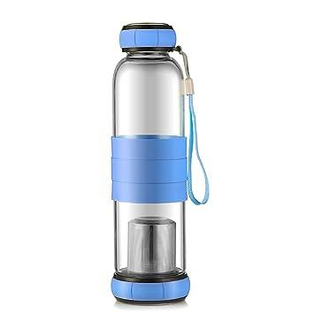 Oneisall - Botella de agua para infusor de té, de cristal, 550 ml de