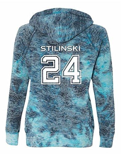 Ladies Teen Wolf Beacon Hills Lacrosse Stilinski 2-Sided Burnout Hoodie (Medium, Bahama Blue)