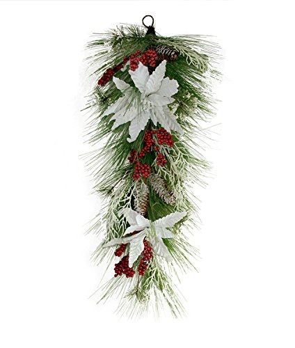 Northlight 32'' Mixed Long Needle Pine with Berries and Poinsettia's Artificial Christmas Teardrop Swag-Unlit, Green by Northlight