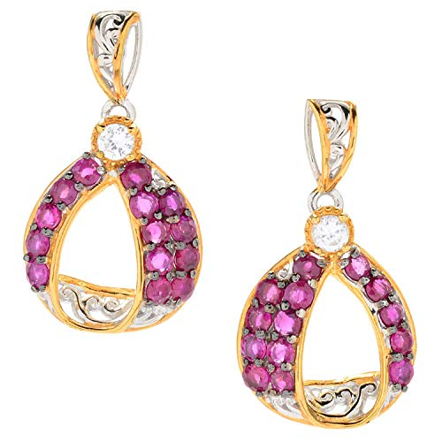 Michael Valitutti Palladium Silver Burmese Ruby & White Zircon Drop Earrings