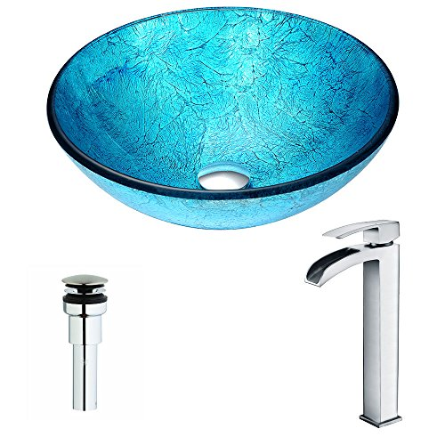 (Modern Tempered Glass Vessel Bathroom Sink in Emerald Ice with Single Handle Matching Deco-Glass Waterfall Vessel Faucet in Chrome Finish   Accent LSAZ047-097 by ANZZI)