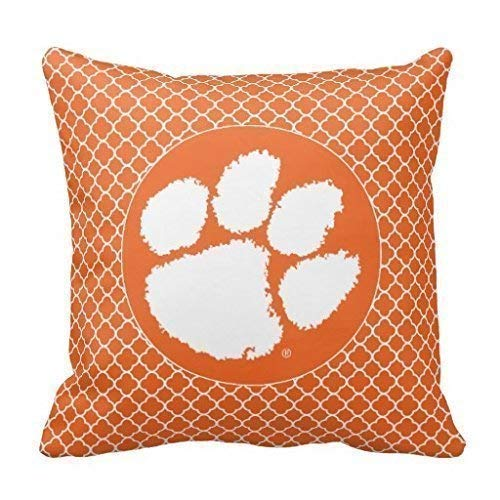 University Tigers Bedding - Clemson University Tiger Paw Throw Pillow Case Cushion Cover Home Sofa Decorative 18 X 18 Inches