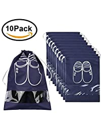 Pack of 10 Travel Shoe Organizer Bags for Boots, High Heel - Drawstring, Space Saving Storage Bag, Large Size, Navy Blue