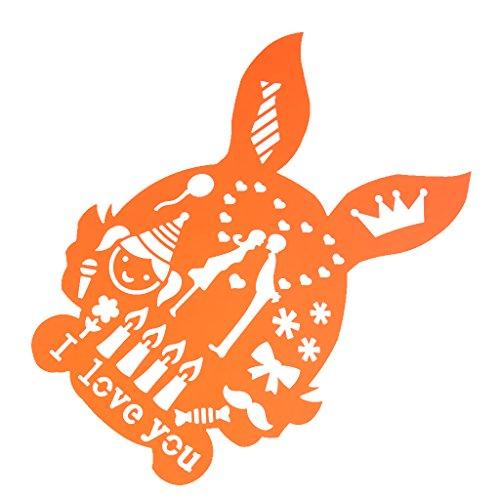 Prettyia 全8種選べ 創造的 テンプレート ステンシルアート 描画ツール ルーラークラフト 文房具 おもちゃ - ウサギ 26cmx18cm