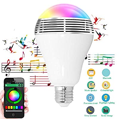 LIYUDL Remote Control Light Bulb Speaker, Music Bulb, E27 Base12W 6520K Color Changing RGB LED Bulb, Smart Remote Control Speaker Light Bulb
