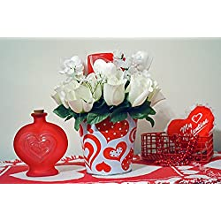 Valentine Day Decor, Floral Arrangement, Table Decoration, Valentine Pail, Valentine Gift, LED Candle, White Pail, Ready to Ship!