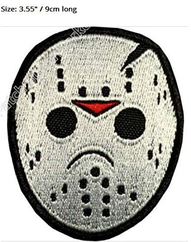 3.55inch Jason Voorhees Mask Embroidered Embroidery Needlework Sewing Patch Patchwork Horror Movie Friday 13Th Tv Series Costume Emblem Appliquesew on Badge -