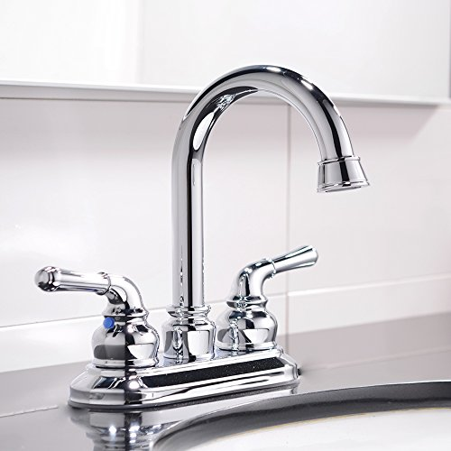 VCCUCINE Modern Contemporary Chrome Finished Two Handle Widespread Vessel Basin Bathroom Sink Faucet, Hot & Cold Water Hose and Pop-Up Drain are Not Included
