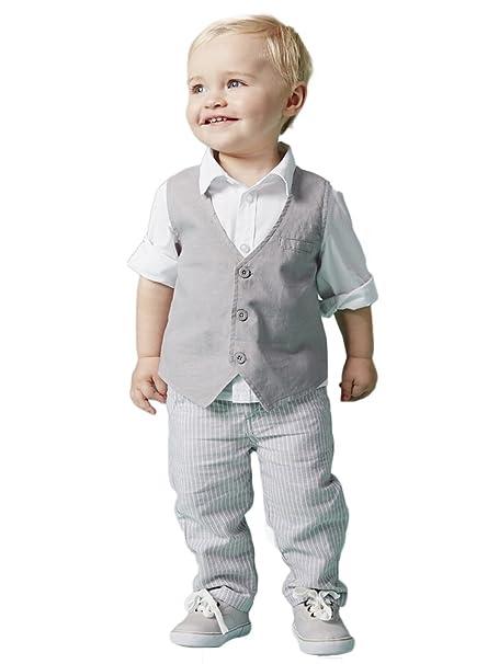 YOUJIA Bebé Recién Nacido Niño Cool Ropa 3pcs Traje: Gris ...
