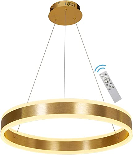 Modern Chandelier Led Dimmable Gold Hanging Pendent Light Fixture 23.6″ 1 Ring Contemporary Chandeliers Office Lighting