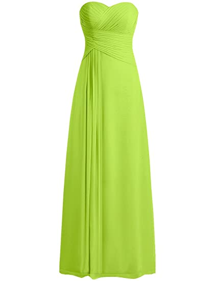 HUINI Strapless Long Chiffon Bridesmaid Prom Dresses Wedding Evening Party Gowns Lime Green UK28