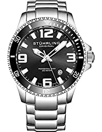 Mens Swiss Quartz Stainless Steel Sport Analog Dive Watch, Water Resistant 200 Meters, Black Dial, Aqua-diver...