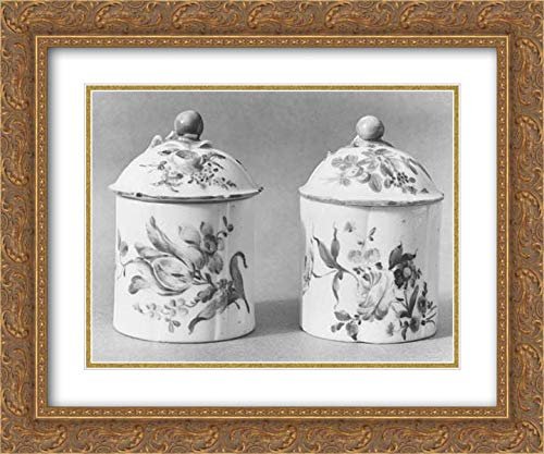 Jar Pomade - Mennecy - 24x20 Gold Ornate Frame and Double Matted Museum Art Print - Pair of Pomade Jars with Covers