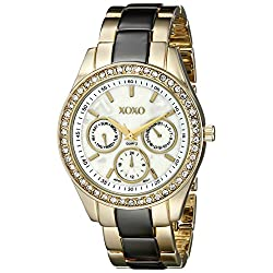 XOXO Women's XO5450 Gold and Gunmetal Clear Rhinestones Bezel Bracelet Watch