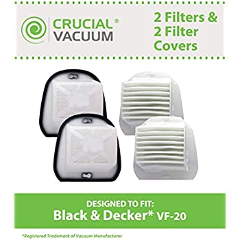 2 Replacement for Black & Decker VF20 Filter Fits Dustbuster, Compatible With Part # VF-20, 499739-00 & 49973900, Washable & Reusable, By Think Crucial