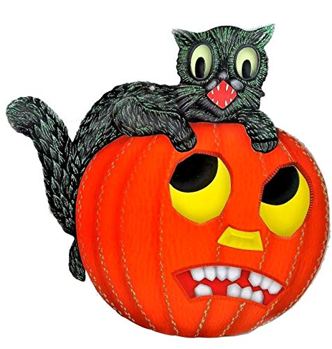 Shiny Brite Black CAT on Pumpkin Halloween Diecut New in -