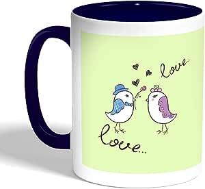 كوب سيراميك للقهوة بتصميم رومانسي - طيور الحب، لون ازرق