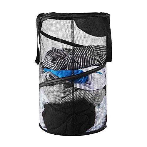 Pop-Up Mesh Hamper,Foldable Laundry Basket Collapsible Clothes basketswith Handles for Dirty Clothes, Baby Kids Toys, Sporting Goods (ONE)